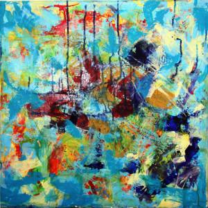 CHEMIN DE TRAVERSE 10 - 60x60 cm - Encres et acryliques sur toile