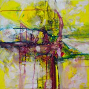 CHEMIN DE TRAVERSE 3 - 60x60 cm - Encres et acryliques sur toile