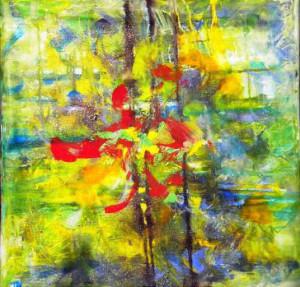 CHEMIN DE TRAVERSE 6 - 60x60 cm - Encres et acryliques sur toile