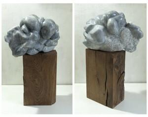 LE PASSEUR - Albâtre - Sculpture 28x42x28x30 cm - Socle bois H34x22x13 - 22 kg