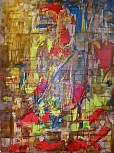 CHEMIN DE TRAVERSE 12 - 97x130 cm - Encres et acryliques sur toile