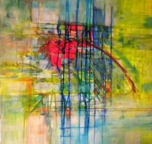 CHEMIN DE TRAVERSE 2 - 80x80 cm - Encres et acryliques sur toile