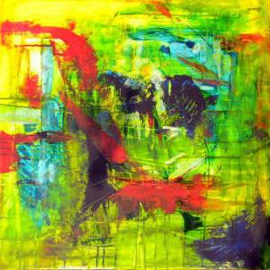 CHEMIN DE TRAVERSE 7 - 60x60 cm - Encres et acryliques sur toile