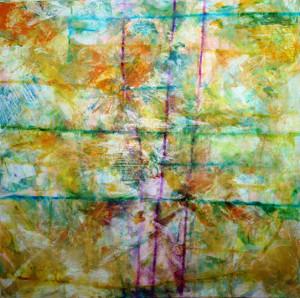 CHEMIN DE TRAVERSE 8 - 60x60 cm - Encres et acryliques sur toile