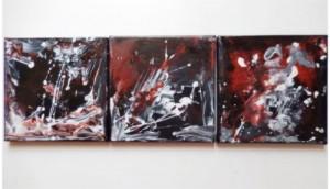 BLACK HOLE - 20x20 cm (Tryptique 60x20 cm) - Encre sur toile