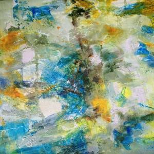 PAR DELA LES NUAGES - 50x50 cm - Techniques mixtes sur toile