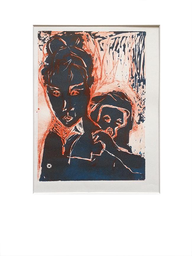 Mère et Enfant 2 - Monotype sur linogravure